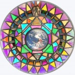 Glass on Nissan car hub cap - 'Ruler of the World' - 36cms. diameter