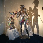 Glass -  'the holy family'(Adam, Lilith and Damian) - life size dichroic glass sculptures
