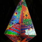 Glass – 'teardrop' – hanging – dichroic glass sculpture. height 1m